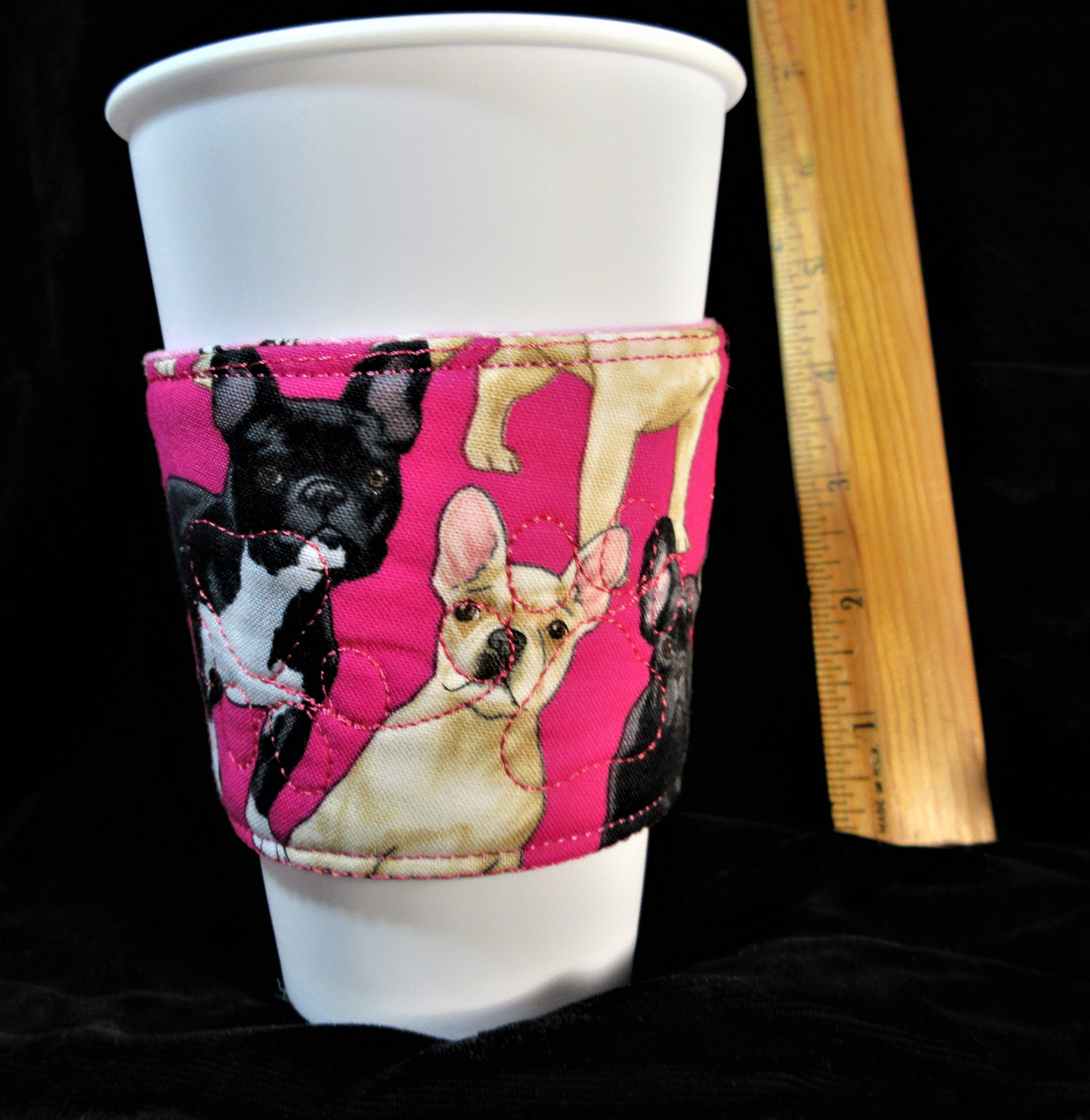 French Bulldogs on pink with Effiel tower on reverse drink sleeve handmade in USA by A Fur Baby Favorite