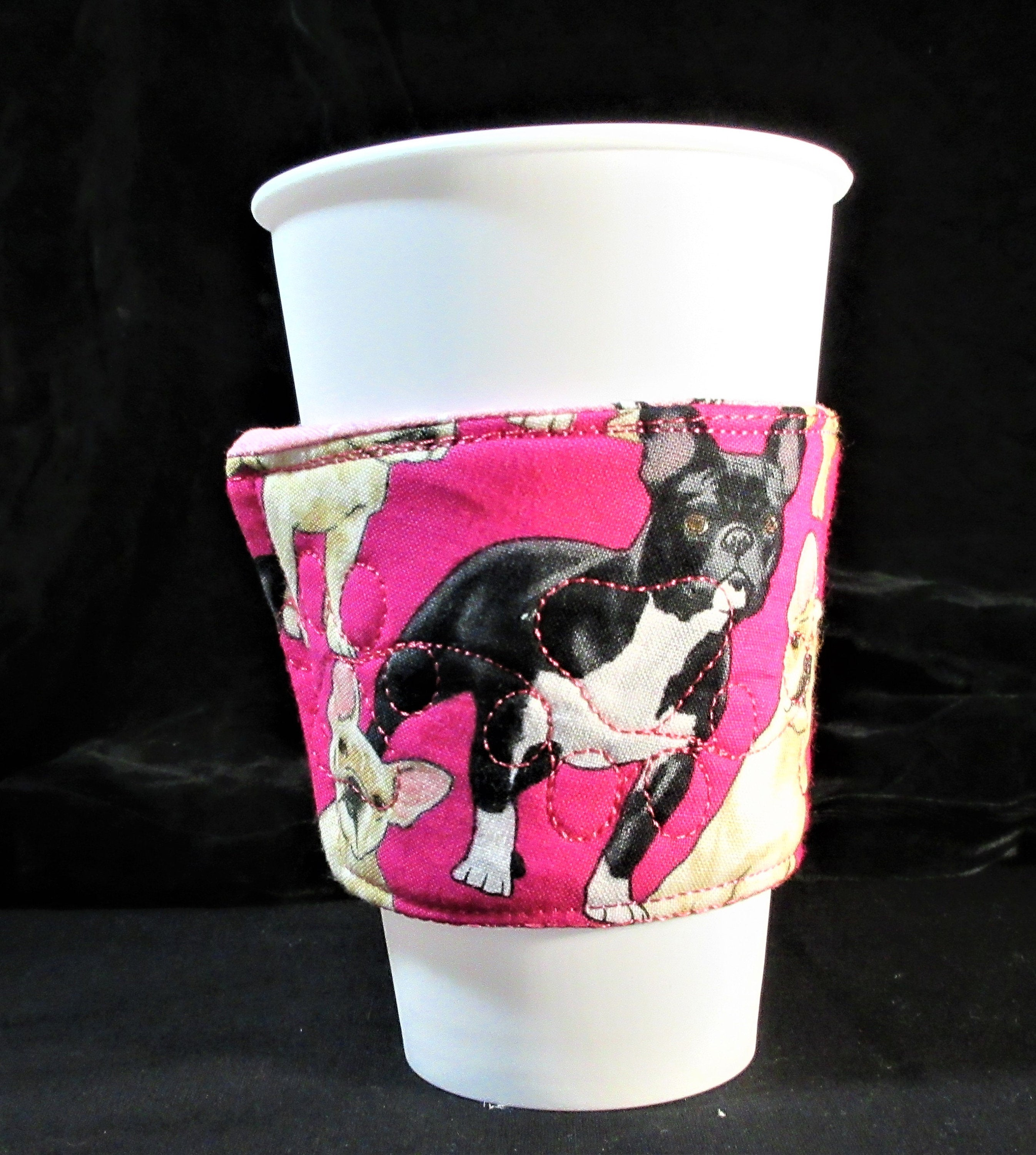 French Bulldogs on pink with Eiffel tower on reverse drink sleeve handmade in USA by A Fur Baby Favorite